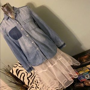 Calvin Klein distressed denim shirt
